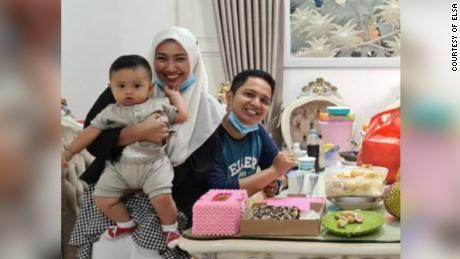 Rizki Wahyudi, 26, and his wife Indah Halimah Putri, 26, are seen with their 7-month-old son, Arkana Nadhif Wahyudi.