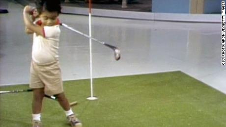 Woods as a two year old golf prodigy on the Mike Douglas show, October 6, 1978.  Image is a screen grab.