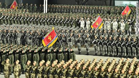 This picture taken on January 14, 2021 and released from North Korea's official Korean Central News Agency (KCNA) on January 15 shows a military parade celebrating the 8th Congress of the Workers' Party of Korea in Pyongyang.