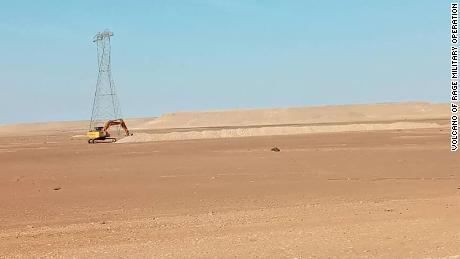 By January 2021, more of the trench digging was captured on camera along the road connecting Sirte to Jufra.