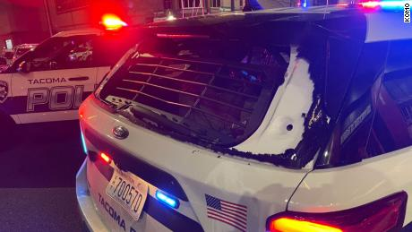 Tacoma police officer drives through crowd, leaving at least one person injured, officials say