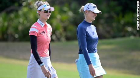 Nelly Korda, left, and Jessica Korda during the final round of the LPGA Tournament of Champions LPGA.