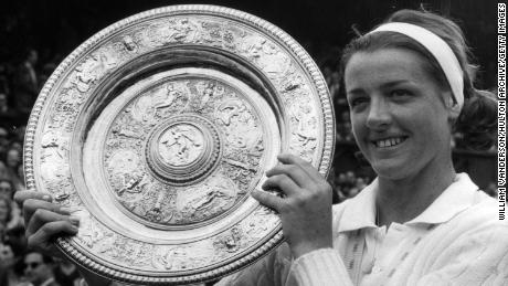 Smith, the Ladies Wimbledon Champion for 1963, poses with the trophy after defeating Billie Jean Moffitt (Billie Jean King) in straight sets.