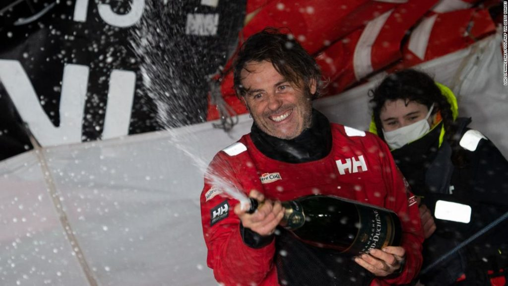 Yannick Bestaven wins round-the-world Vendée Globe race after helping to rescue fellow competitor