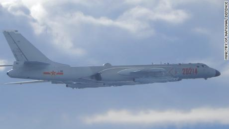 A Chinese People's Liberation Army Air Force H-6 bomber flies over the Taiwan Strait in September.