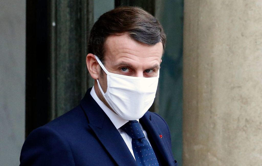 French President Emmanuel Macron waits at the Élysée Palace in Paris before a working lunch on January 27.