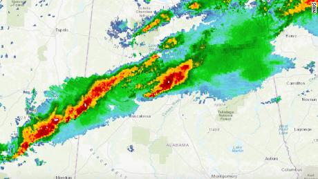 A line of storms stretches from Alabama into Georgia, bringing severe weather.