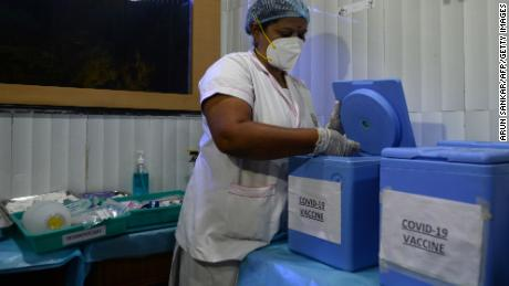A health official prepares a vaccine kit during a Covid-19 vaccine mock drill in Chennai on January 2.