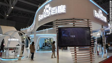 People visit the Baidu stand during a 2019 exhibition in Fuzhou, China.