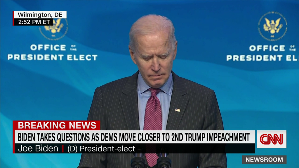 Biden declines to weigh in on impeachment and says it's up to Congress to decide