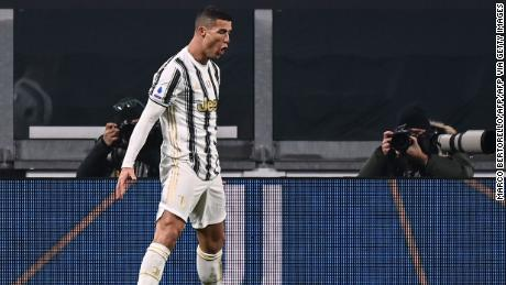 Cristiano Ronaldo celebrates after scoring his second goal against Udinese.