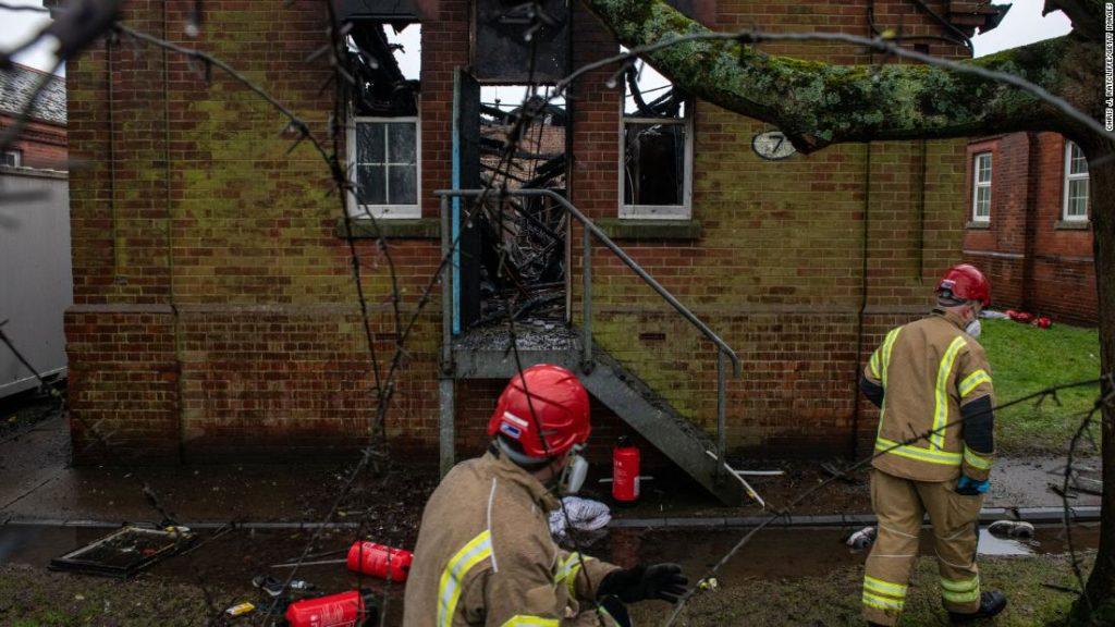 Five men arrested after asylum center set ablaze in UK