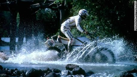 Auriol on his motorbike during the Dakar Rally in 1981.