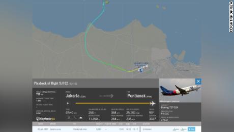 A Flightradar24 map shows the moment Sriwijaya Air flight SJY 182 lost contact on Saturday.