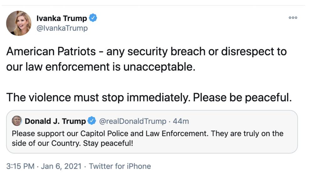 """Ivanka Trump calls rioters """"patriots,"""" then deletes tweet"""
