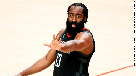 Harden reacts during the Rocket's game against the Portland Trail Blazers last December.