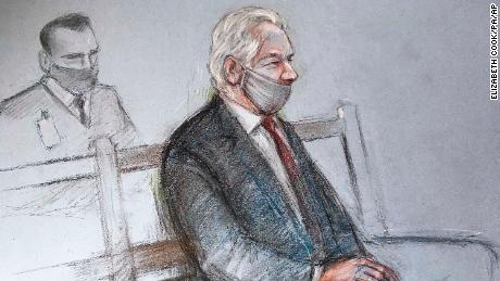 Court sketch of Julian Assange at the Old Bailey in London for the ruling in his extradition case on Monday, January 4, 2021.