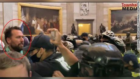 An FBI screenshot of video from the Capitol Rotunda on January 6 showed Keller in the crowd that stormed the building.