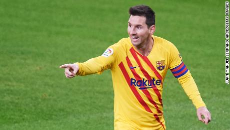 Messi celebrates after he scores his team's second goal.