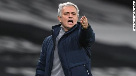 Mourinho gestures during the  match against Liverpool.
