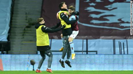 Barry celebrates after scoring in his Villa debut.