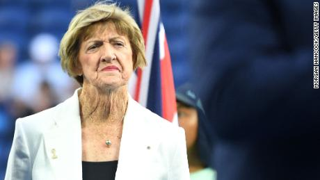 Court looks on during a tennis Hall of Fame ceremony on day nine of the 2020 Australian Open.