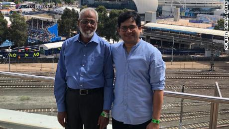 Daniyal Ameen and his father, Muhammad Ameen, at the Australian Open in 2020. Muhammad passed away from Covid-19 after being on a ventilator for two weeks in the ICU of South City Hospital in Karachi.