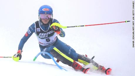Mikaela Shiffrin competes during her first run of the World Cup slalom event on Sljeme Mountain on her way to an eventual fourth place.