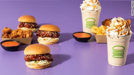 Shake Shack's new Korean-style Fried Chick'n sandwich and Black Sugar Vanilla Shake became available for purchase on January 5, 2021 for a limited time.