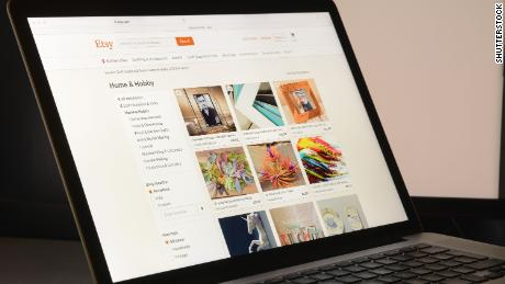 Etsy website on a laptop computer