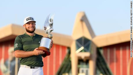 Hatton celebrates victory at the Abu Dhabi Championship.