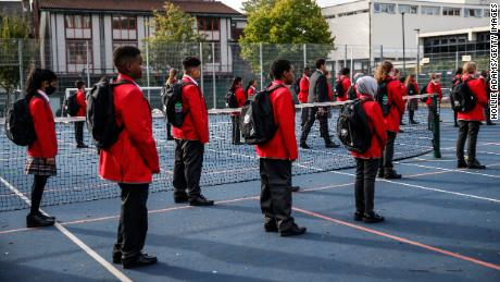 Students practice social distancing measures at City of London Academy Highgate Hill on September 4, 2020 in London, England.