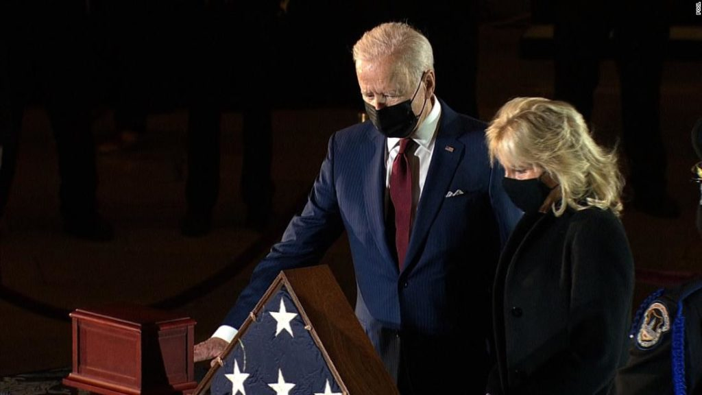 Brian Sicknick: Bidens pay their respects to Capitol Police Officer Brian Sicknick as officer lies in honor at Capitol