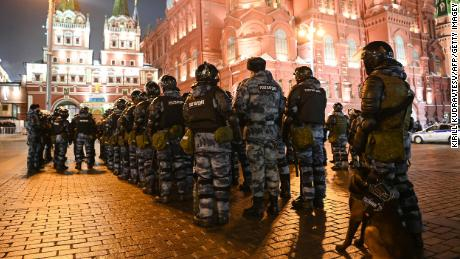 Servicemen of the Russian National Guard (Rosgvardia) gather outside Red Square in Moscow February 2, 2021.