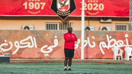 Al Ahly coach Pitso Mosimane oversees his team's training session in Cairo.