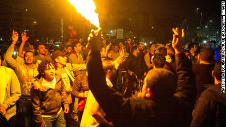 Al-Ahly supporters celebrate in Cairo after their team beat Zamalek on 27 November 2020, Cairo, Egypt.