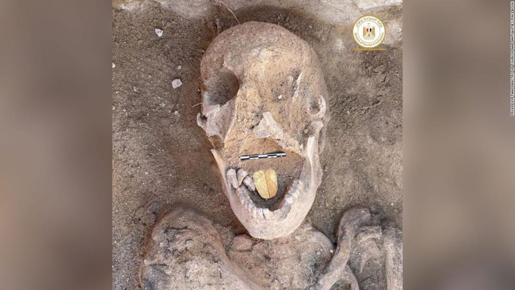 Archaeologists find Egyptian mummies with golden tongues