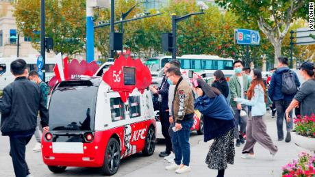 """A driverless van deployed by KFC. Last November, the brand piloted a fleet of """"dining cars"""" on the streets of Shanghai."""