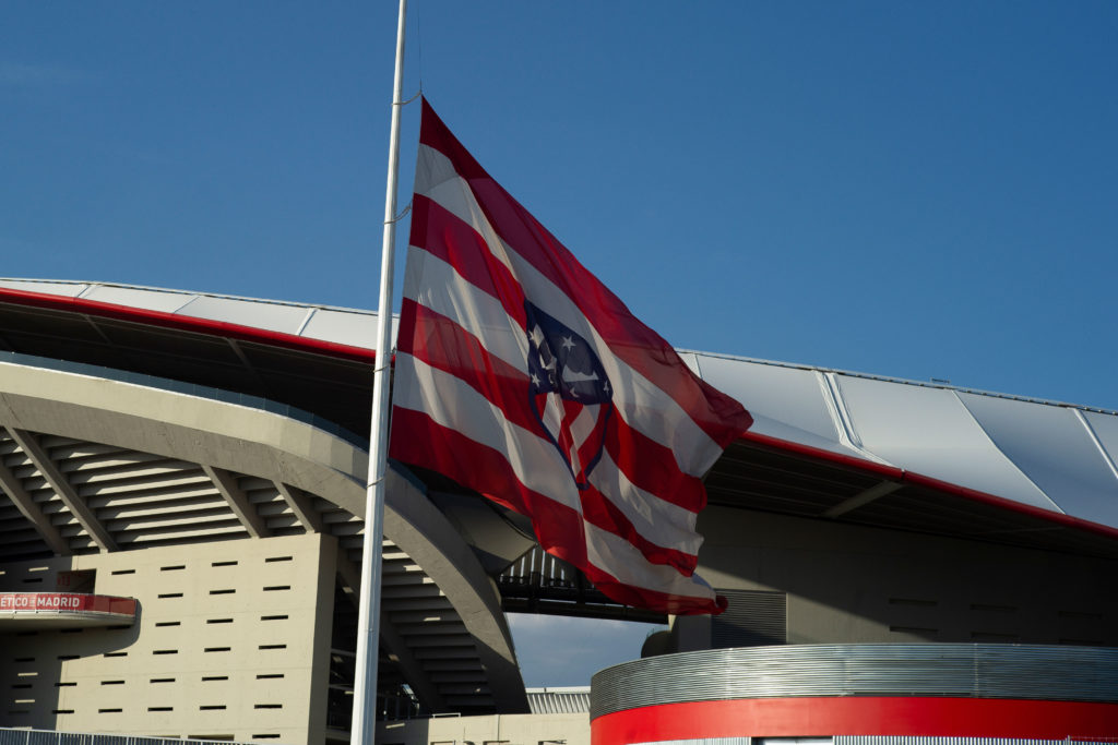 The Atlético Madrid flag flies at half-staff in memory of Covid-19 victims at the Wanda Metropolitano Stadium in Madrid on June 2, 2020.