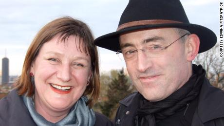 Edwina fitzPatrick with her late husband Nik Devlin, who died of Covid-19 last year.