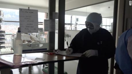 Member of the medical team at the Cardiovascular Hospital in Soacha, Colombia in the coronavirus ward.