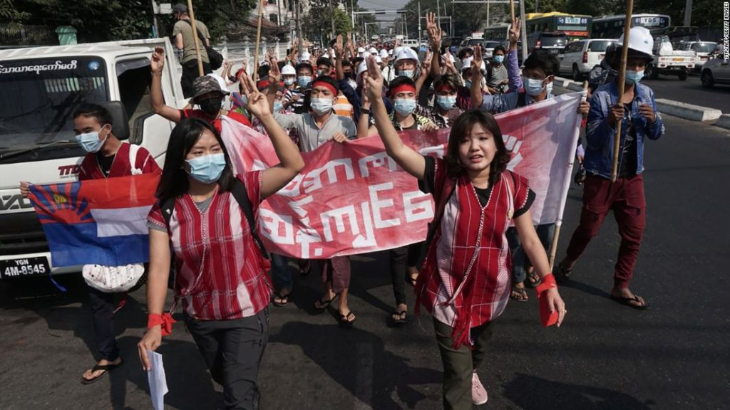 Protests break out in Myanmar in defiance of military coup