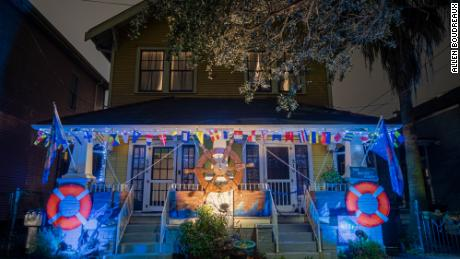 """Megan Boudreaux, known as the Krewe of House Floats """"Admiral B,"""" styled her home and moniker to match."""