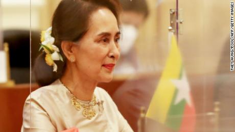 Myanmar's recently deposed State Counsellor Aung San Suu Kyi pictured at the Presidential House in Naypyidaw on September 1, 2020.