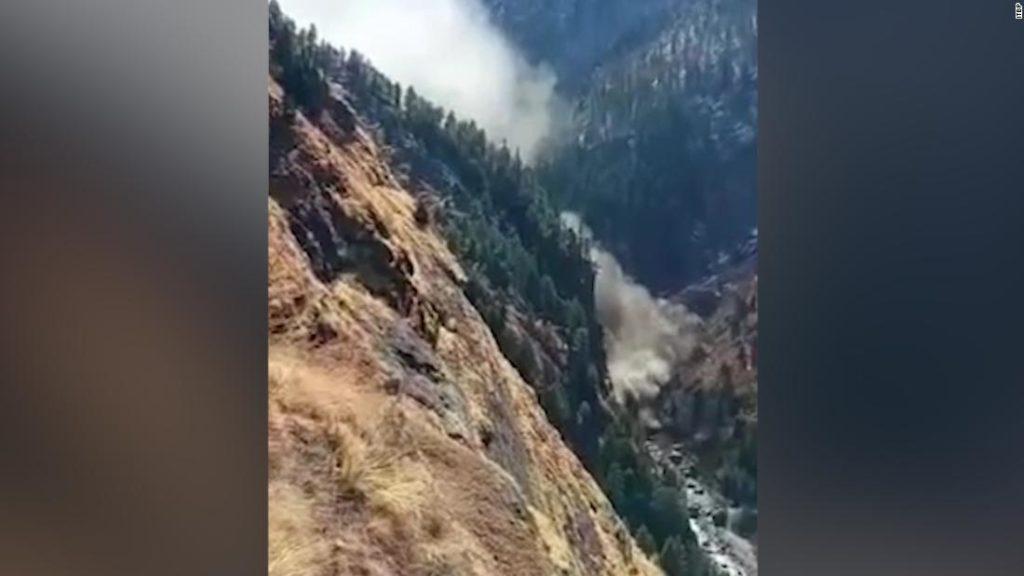 See Himalayan glacier crash into dam