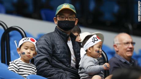 Spectators wait for the start of the match between Russia's Anastasia Pavlyuchenkova and Japan's Naomi Osaka on Monday.