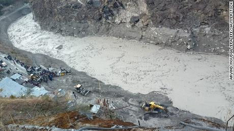 Rescue operations continued Monday near the Dhauliganga hydro power project after a portion of Nanda Devi glacier broke off, in Chamoli district, Uttarakhand, India.
