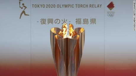 The Olympic flame on display in Fukushima on March 24, 2020.