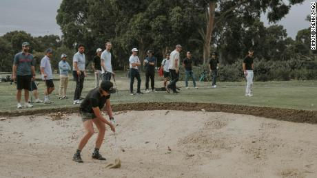 """Lang admits that for someone who might not have that much experience in the game, """"it's nerve wracking to hit a golf shot in front of a bunch of people you don't know."""""""