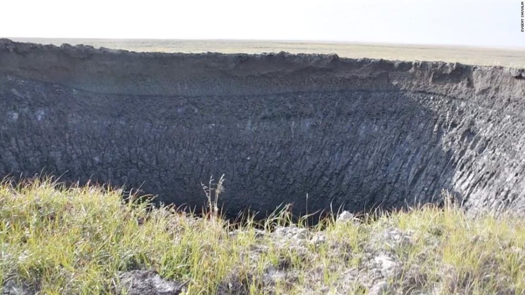 Footage shows a massive crater in Siberia